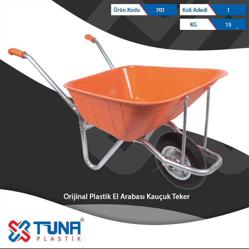 Original Plastic Wheelbarrow with Rubber Tire